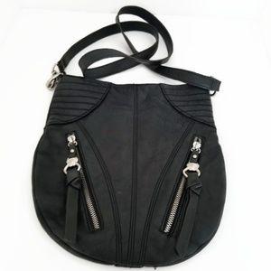 B. Makowsky Black Leather Cross-body Bag
